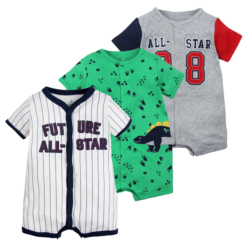 2019 New Infant Baby Boys Clothes Cartoon Animal Short Sleeve Rompers Newborn Baby Cotton Clothing Toddler Boys Roupas Pajamas