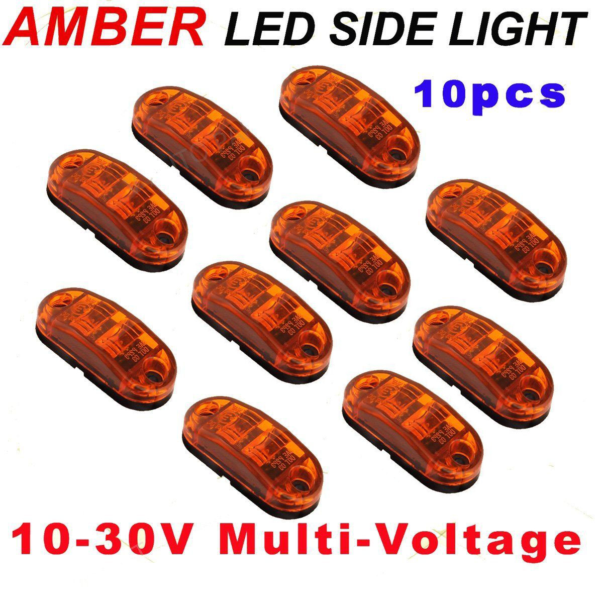 10pcs Yellow Light Trailer Lamps 12V 24V Yellow Side Trailer Truck Turn Light LED Marker Clearance Lamp 20 Pcs Screws
