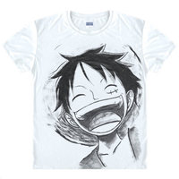 One Piece T Shirt 2016 Fashion Japanese Anime Clothing White Color Luffy Cotton T Shirt For