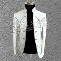 Cantor vestido de casamento do noivo branco fraque tdo terno roupas masculinas masculino real vestido formal real vestuário de homem dancer festa