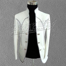 white Groom wedding singer dress tailcoat tdo suit male clothes royal male formal dress royal men's clothing dancer party