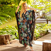 Aproms Boho Tropical Floral Print Summer Long Maxi Dress Women Batwing Sleeve V Neck Loose Beach