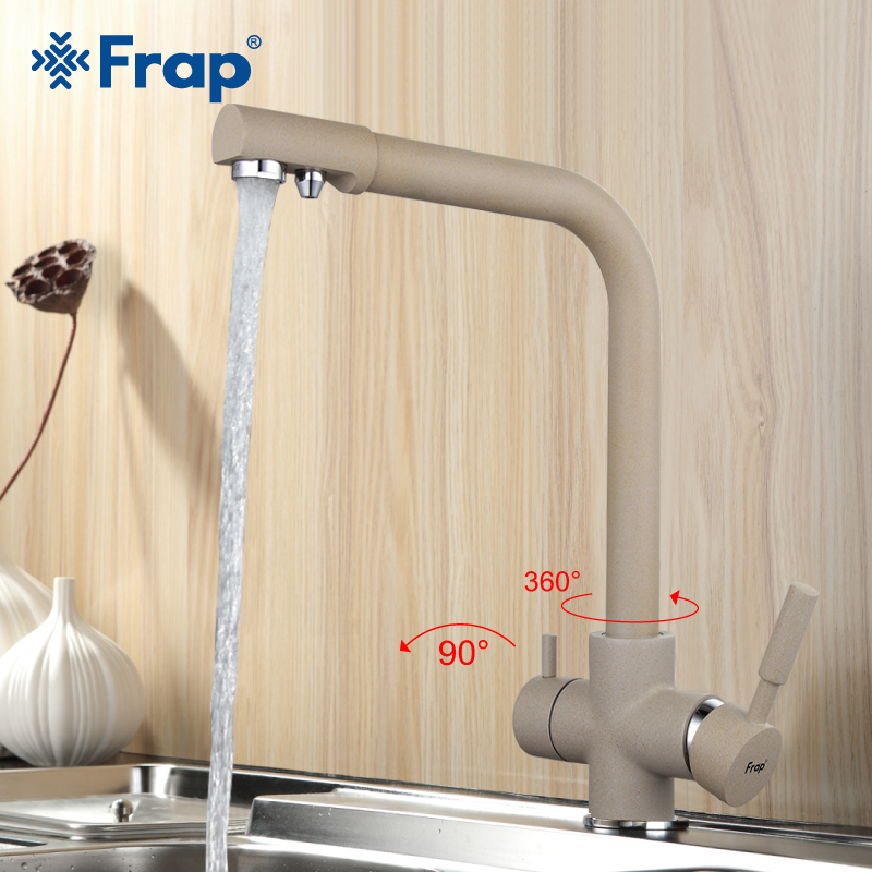 Frap New Arrival Khaki Color Kitchen Faucet Deck Mounted Mixer Tap 180 Degree Rotation with Water Purification Features F4352-20