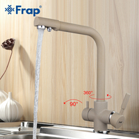 Frap New Arrival Khaki Color Kitchen Faucet Deck Mounted Mixer Tap 180 Degree Rotation with Water Purification Features F4352 20