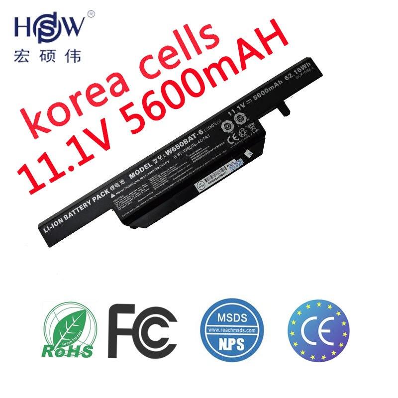 HSW 11.1 V 62.16WH batterie pour Hasee K610C K650D K570N K710C K590C K750D Clevo W650S W650BAT-6 bateria kku