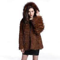 (TopFurMall) Women's Stripe Genuine Raccoon Fur Coat with Hoody Female Autumn Outerwear Coats LF5118