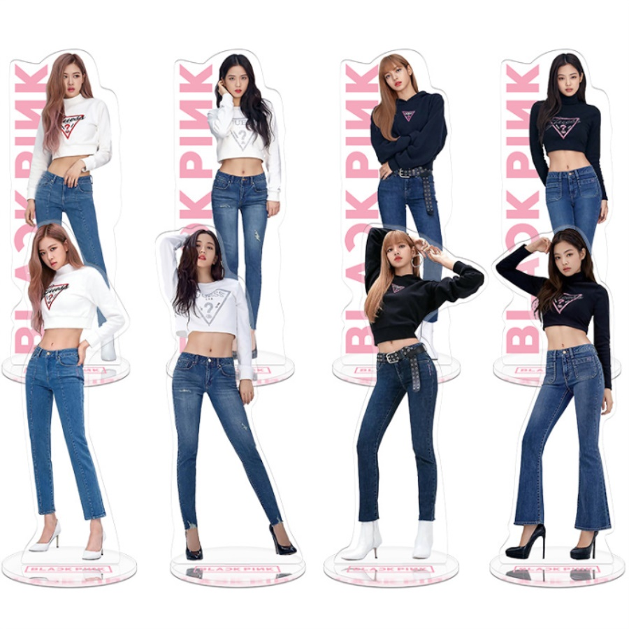 Kpop Blackpink Members Acrylic Standee Action Figure Doll Lisa Rose Jennie Standing Table Decor 22cm