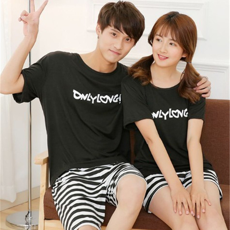 2017 New Summer Men And Women Sleepwear Casual Couple Pajama Short-sleeve Lovers black Letters pajamas Free Shipping