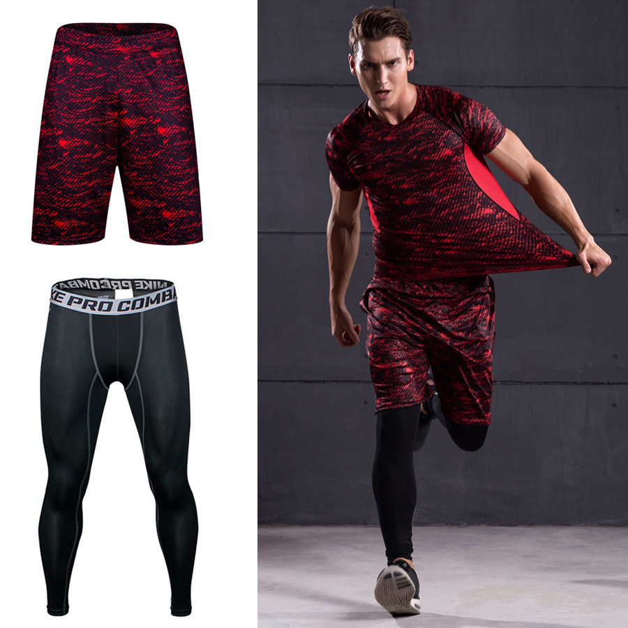 Compression Pants Men Two Pieces Bodybuilding Jogger Basketball Leggings Sportswear Sport Tights Gym Fitness Sweatpant Tights