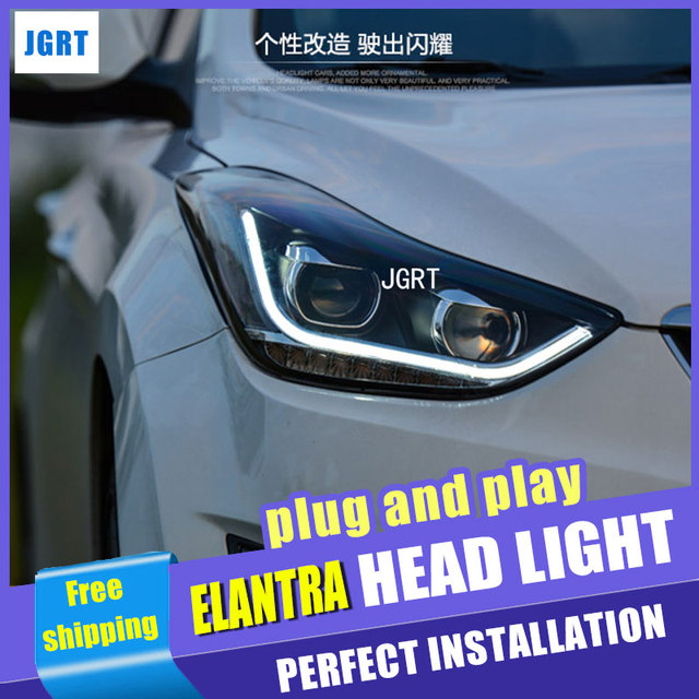 car styling For Hyundai ELANTRA headlights angel eyes DRL 2015 For ELANTRA LED light bar DRL  bi xenon lens h7 xenon