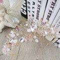 Новая Мода Ручной Великолепный ясно crystal Crown Princess Благородный Золотой Диадемы головной убор для Невесты Свадебные Аксессуары Для Волос