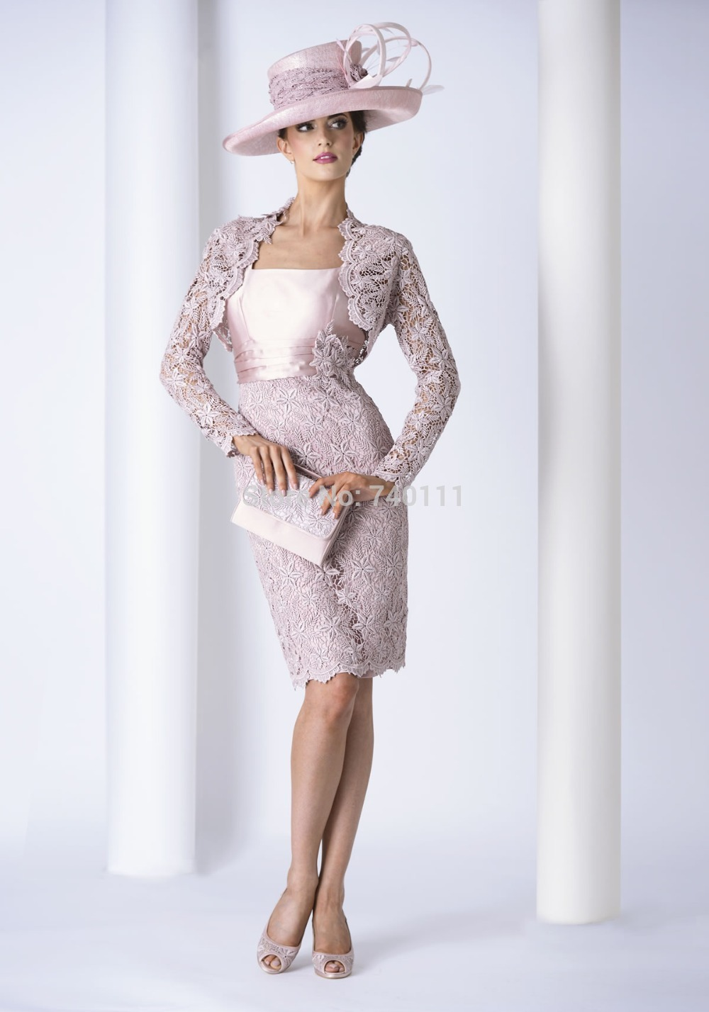 Lace jacket knee length sheath mother of the bride dress for Dress and jacket outfits for weddings