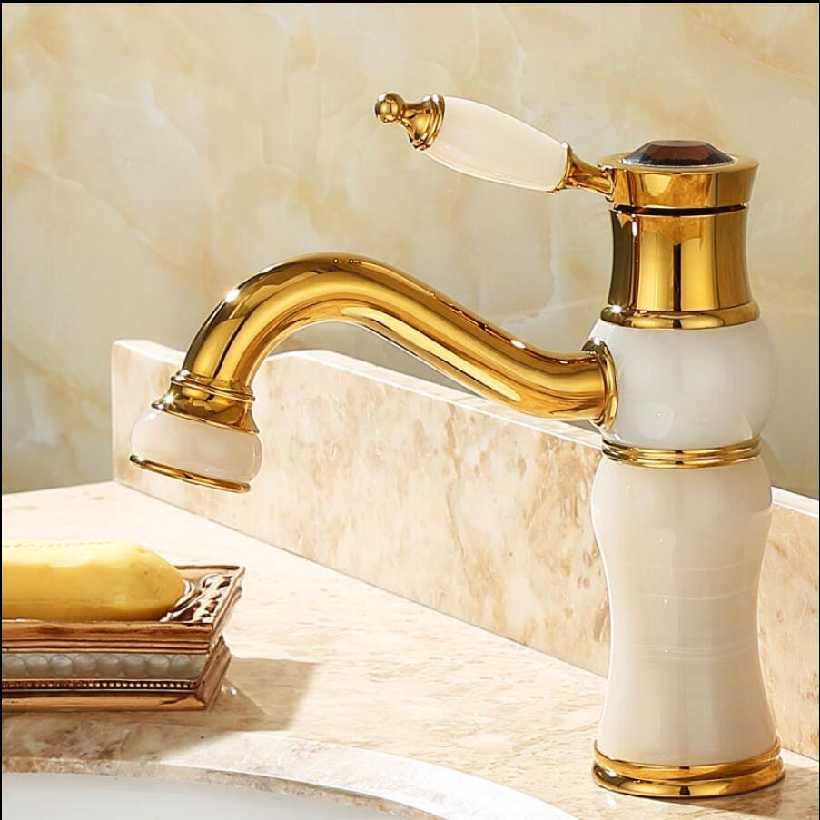 Deck mounted brass and Jade water faucet Bathroom Basin faucet Mixer Tap Gold and black oil Sink Faucet Bath Basin Sink Faucet new design gold plating luxury bathroom basin faucet single handle vanity sink mixer water tap brass and jade basin sink faucet