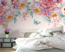 beibehang Custom size Modern HD hand-painted wall paper small fresh rose butterfly TV background papel de parede 3d wallpaper