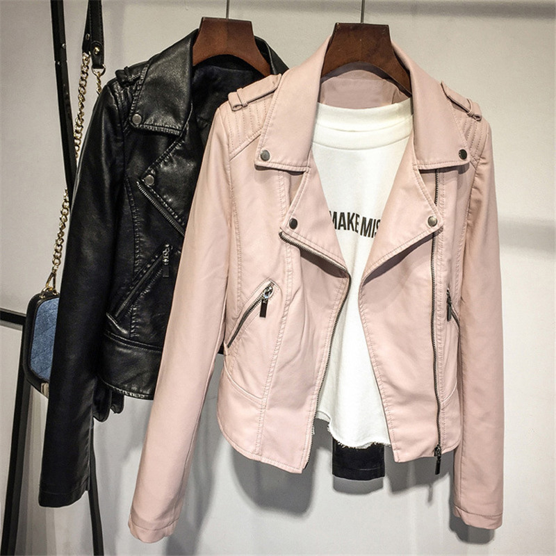 2019 Brand Spring Autumn New Fashion Women   Leather   Jackets Solid Zipper PU Outwear Womens   Suede   Jackets and Coats DS50802