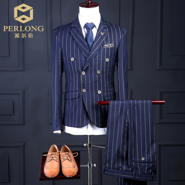 New Arrivals Men's Suit Coats 3 Piece(Jacket+Pants+Vest) Tailored Slim Blue Chalk Stripe Suit For Mens London Suits Wholesale