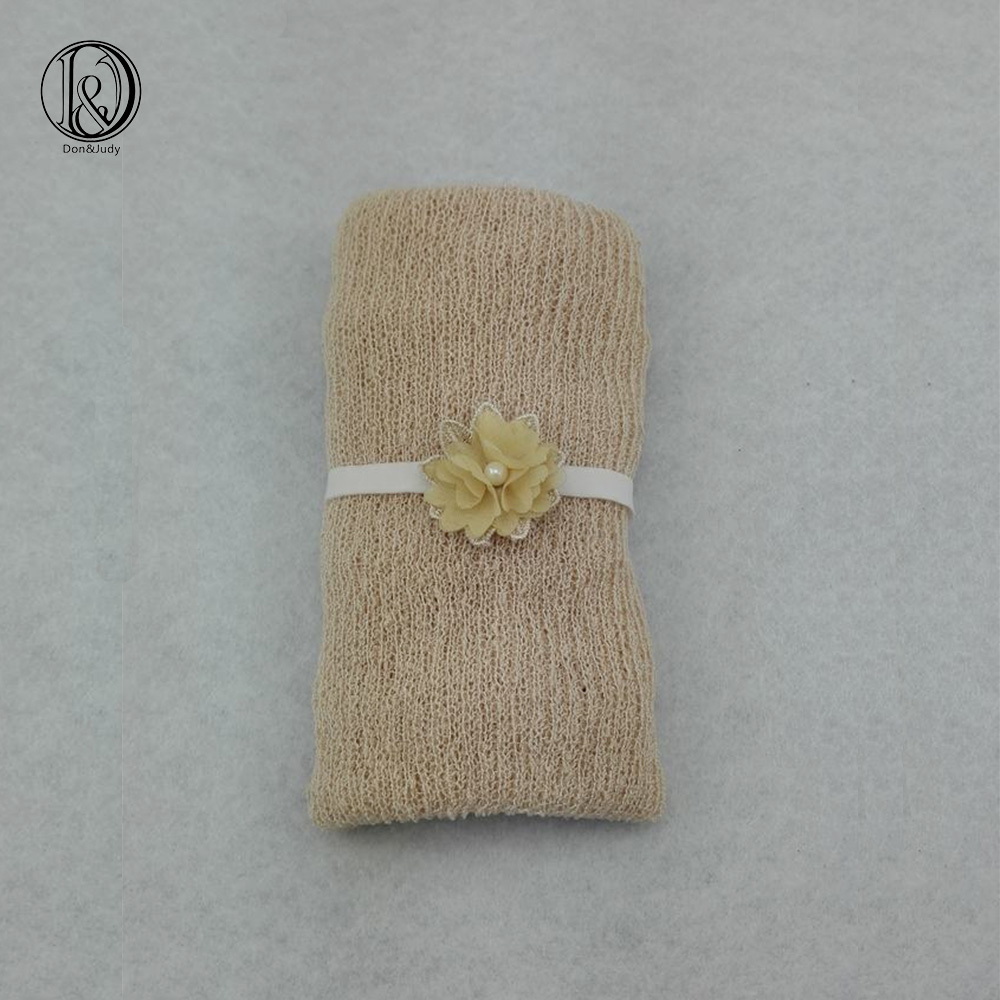Stretch Knit Wraps With Handcraft Pearl  Flower Full Set Baby To Maternity Newborn photography props