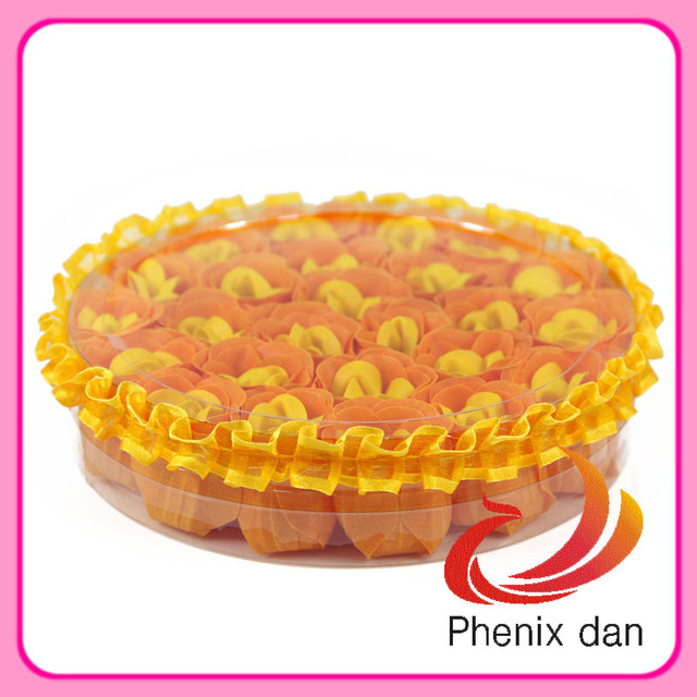 Free shipping 2012 hot-selling  Valentine/Wedding Gift 25pcs circle shape bath soap flower   with lace edges for showing favours