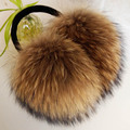 ZDFURS * Oversized really big raccoon fur earmuffs Korean real fur earmuffs lovely personality plush fur  ear cover  warm