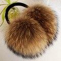 ZDFURS * de Gran Tamaño muy grande de piel de mapache orejeras orejeras de piel reales de Corea encantadora personalidad felpa cubierta del oído cálido