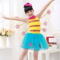 בעלי החיים של ילדי הילדה תחפושת ריקוד כנפי מלאך קטן דבורת פרפר ריקוד ביצועים שמלת פאייטים