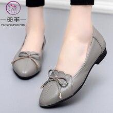 MUYANG MIE MIE chaussures pour femmes en cuir véritable, plates, tendance, Ballet de travail, grande taille 35 43, collection 2019
