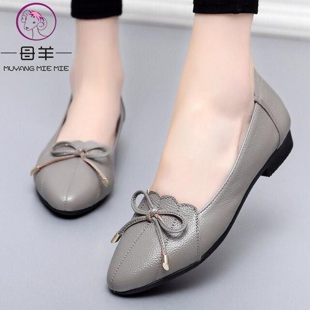 MUYANG MIE MIE kobiet buty 2019 prawdziwej skóry kobiet mieszkania moda kobiet w stylu casual, biurowy mieszkania baletowe Plus rozmiar 35 43 obuwie damskie