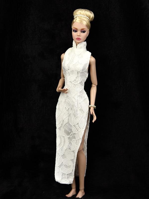 Cheongsam Outfit Clothes For Barbie Doll 1/6 BJD White Evening Gown Vestido Dress Boneca Casa Da House Accessories Costume Gift