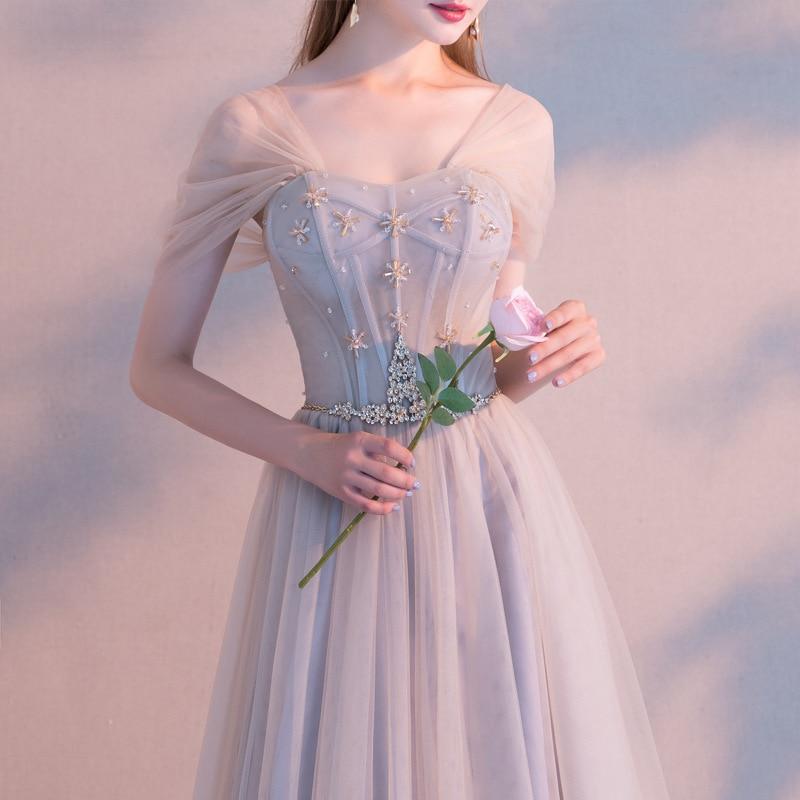 Robe de soirée Banquet 2019 printemps Slash cou longue robe dames gris élégant femmes robe fée Bandage robe
