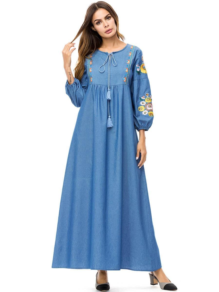 2019 Women Autumn Fashion Abaya Muslim Jean Dress Embroidery Dubai Abayas Round Neck Caftan Islamic Dresses Blue Vestidos 4XL