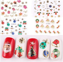 1 Sheet New Fashion Nail Art Sticker Christmas Theme Design DIY Snow and Santa Claus Bronzing 3D Decals Foil Decorations Tips