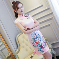 2018 Summer New Sexy Hot Sell Chinese Style Women Silm Mini Qipao Dress Cheongsam Dresses Size