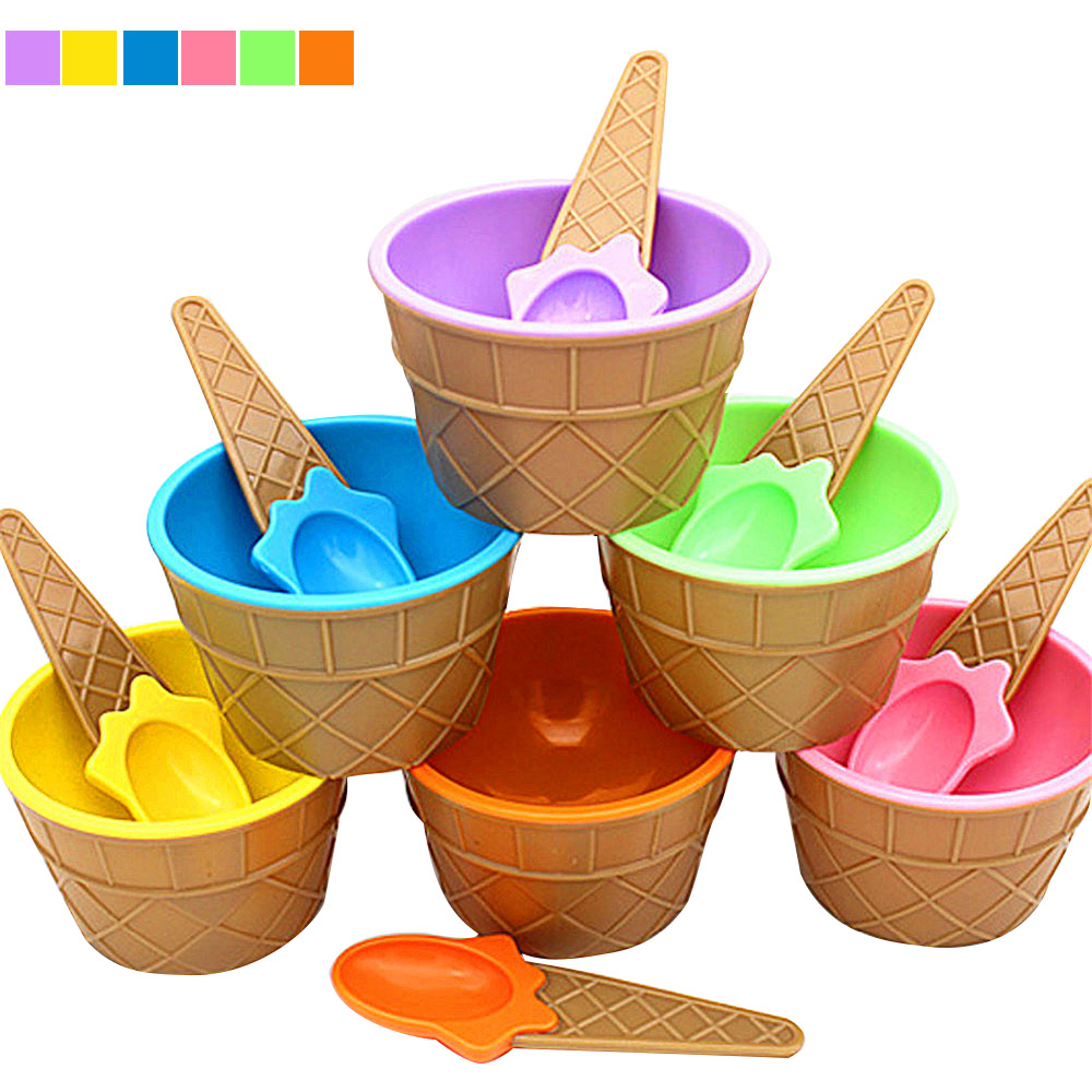 Summer Fashion Ice Cream Bowl With A Spoon Double deck Antifreeze Bowls For Kids font b