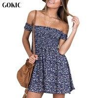 Owlprincess Off Shoulder Floral Printed Summer Dress Vintage High Waist Beach Dress 2016 Elegant Slim Short