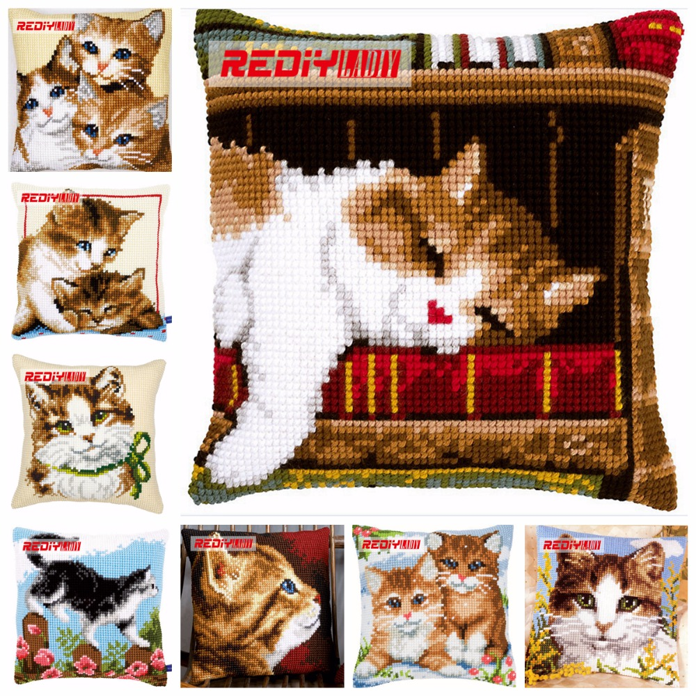 REDIY Cross Stitch Pillow Case KITTENS Cushion Cover for Sofa Chunky Cross-Stitch Kits Throw Pillows Chair Cushions Home DecorREDIY Cross Stitch Pillow Case KITTENS Cushion Cover for Sofa Chunky Cross-Stitch Kits Throw Pillows Chair Cushions Home Decor