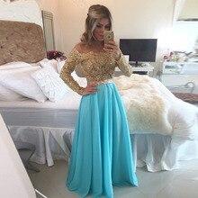 Neue Ankunft Lange Ärmel Blau Chiffon-Langes Abendkleid Kleider Vestido De Festa Longo Günstigen Preis Vintage Abendkleid 2015