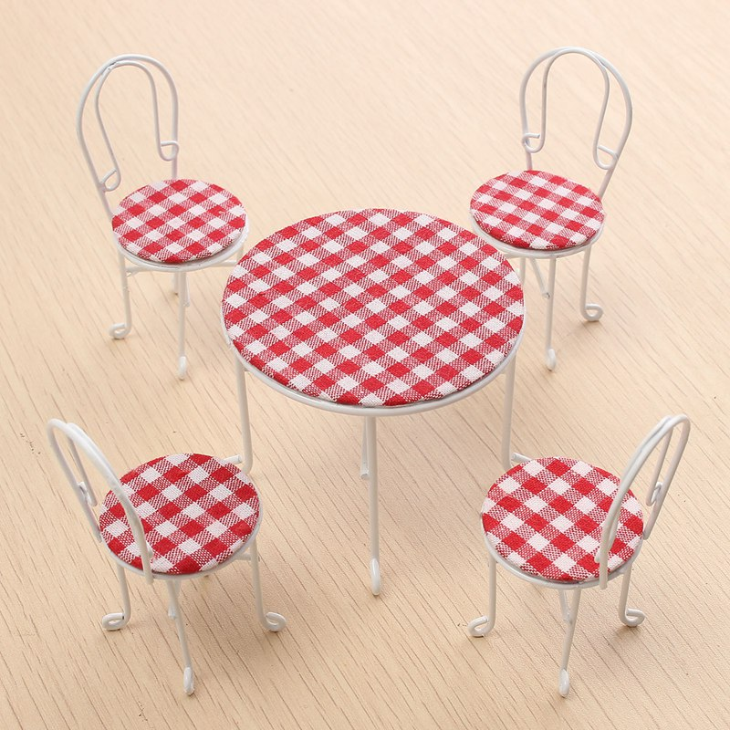 5Pcs set 1 12 Scale Tables Chairs Set For Doll house Miniature Ornaments Kitchen Acessories Food