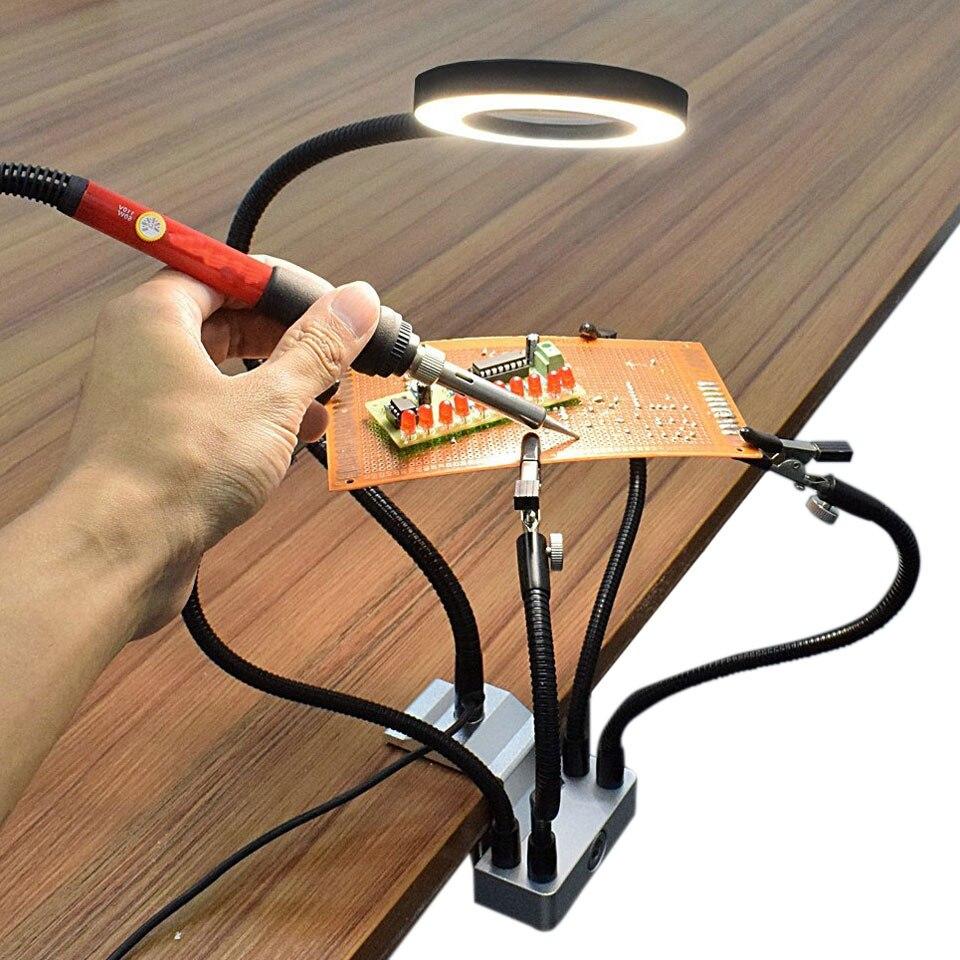 4 Clamp Helping Hand Soldering Stand Station Aluminum Alloy Base Welding LED Light Soldering Iron Holder