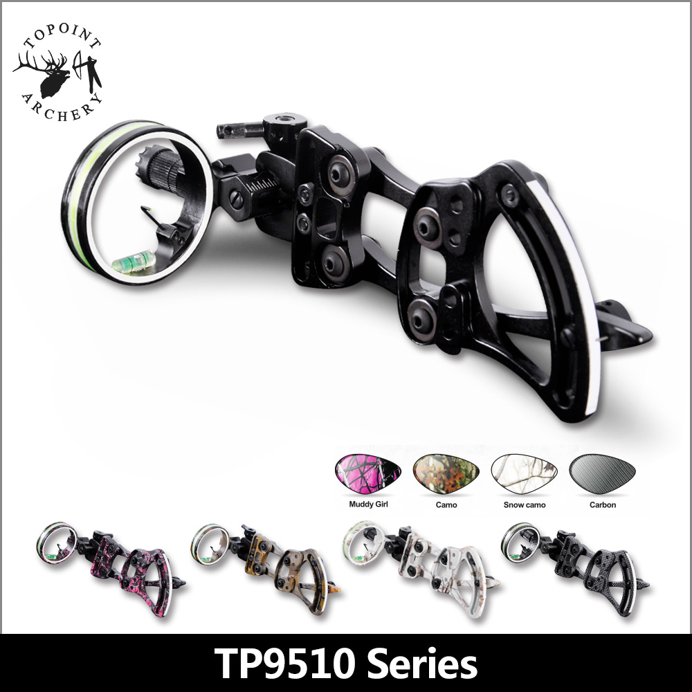 Topoint Archery TP9510 Professional Archery 1 Pin Bow Sight Micro-adjust Hunting Compound Bow Sights Black Color for hunting 1 pin 0 059 bow sight micro adjust long pole for archery hunting recurve bow