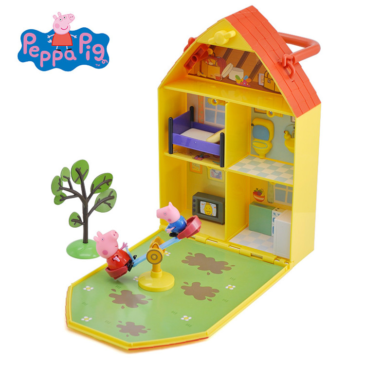 Genuine PEPPA PIG 06156 Peppa's House & Garden Playset home Case game House and Garden Includes Figure Peppa Pig and George