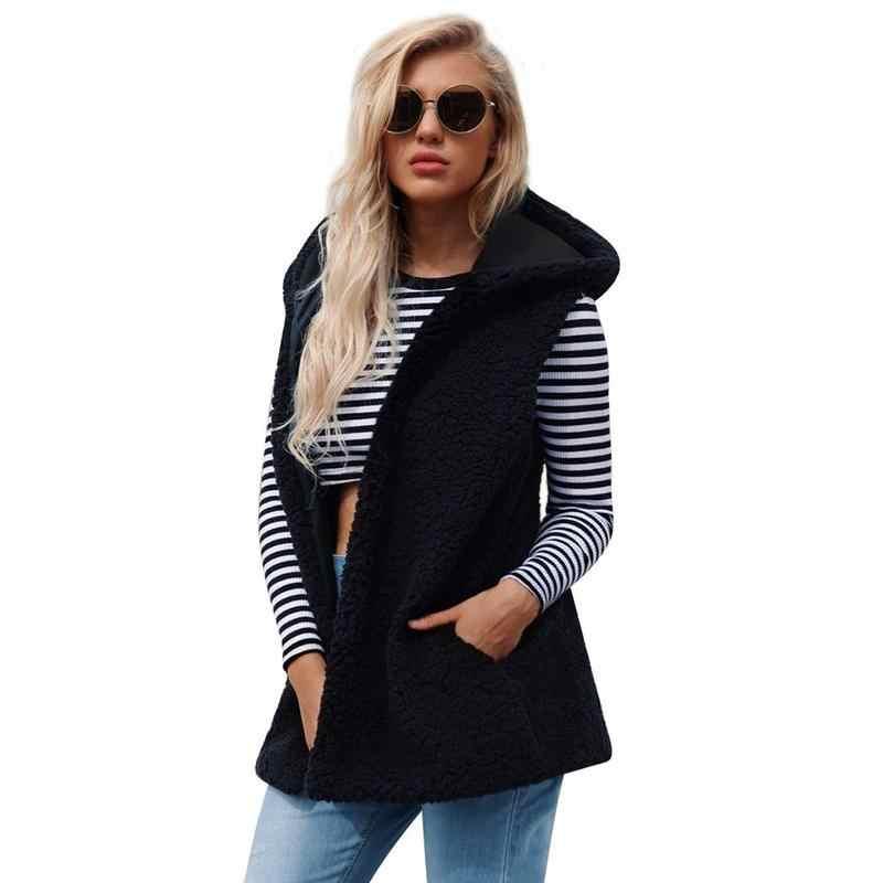 2018 плюс размер L-3XL черное пальто из искусственного меха Женское зимнее без рукавов хаки жилет из искусственного меха Повседневная куртка пальто женская верхняя одежда белый