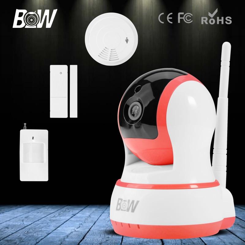 BW Mini IP Camera + Infrared Motion / Door Sensor + Smoke Detector HD 720P Wireless Wifi Automatic Alarm Systems Security CCTV marantz sr 7010 27494 av ресивер black