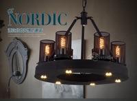Industrial Vintage Loft Style Wrought Iron Black Pendant Light Restaurant Decoration Light Foyer Retro Light Free Shipping