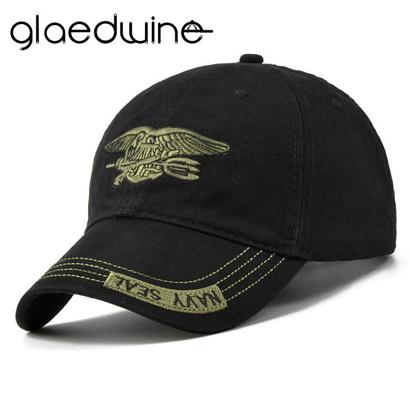Glaedwine High Quality Camo beisbola cepure vīriešiem Camouflage flotes zīmogs taktiskā cepure vīriešu cepures un cepures kaulu armijas Snapback pieaugušajiem