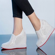Punk Oxfords Women Trainers Shoes Cow Leather Wedges Platform Evening Party Pumps Slip On Super High Heels Creepers Casual