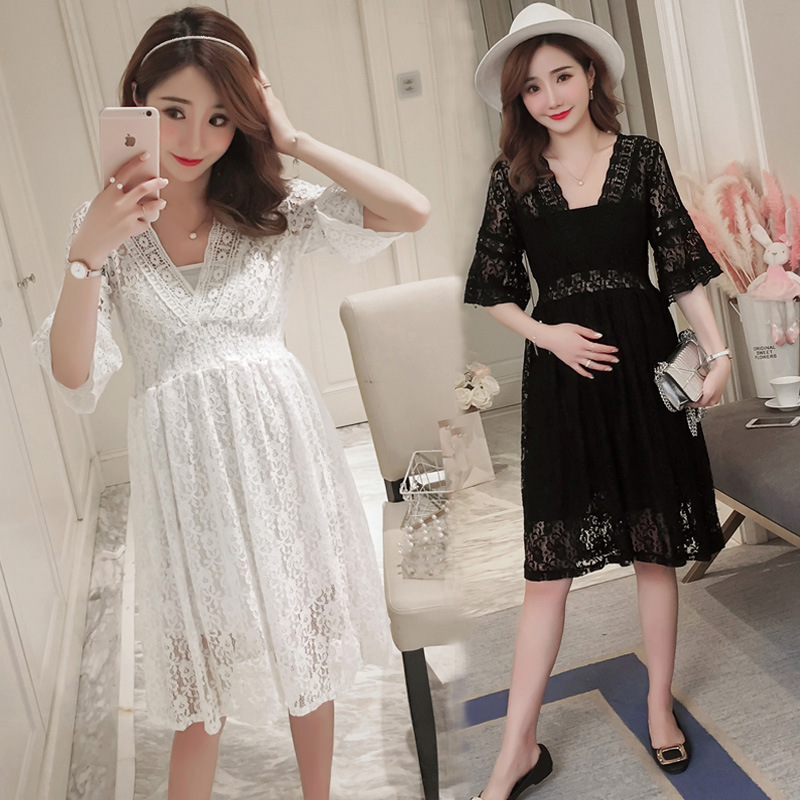 New Style Sexy High Waist Pregnancy Dress Outfits Lace Dress For Pregnant Women Hollow Horn Sleeve Maternity Dresses Clothes ...