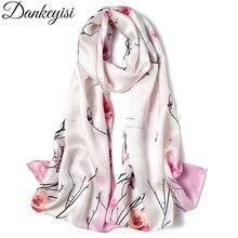 DANKEYISI натуральный Шелковый женский шарф, Женская бандана, роскошный бренд, винтажный шаль из чистого шелка, Длинный мягкий шарф, цветочный узор, шарфы