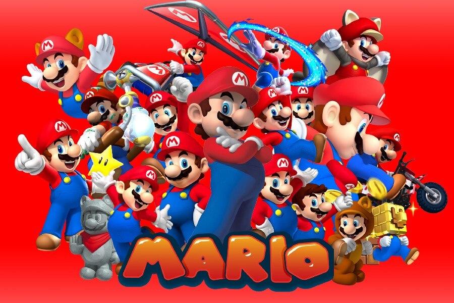 ᗑDIY Marco de dibujos animados Super Mario Kart juego cartel Telas ...