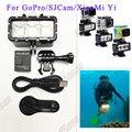 Accesorios gopro luz subacuática buceo impermeable led video luz + batería y montaje para gopro session hero4 3 + 3 xiaomi yi sj4000