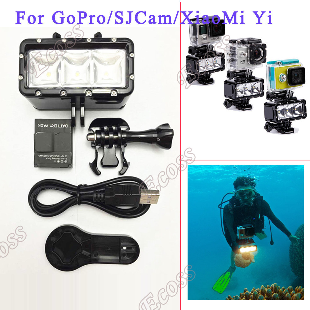 Accessories GoPro Underwater Light Diving waterproof LED video light Battery mount For GoPro Session Hero4 3